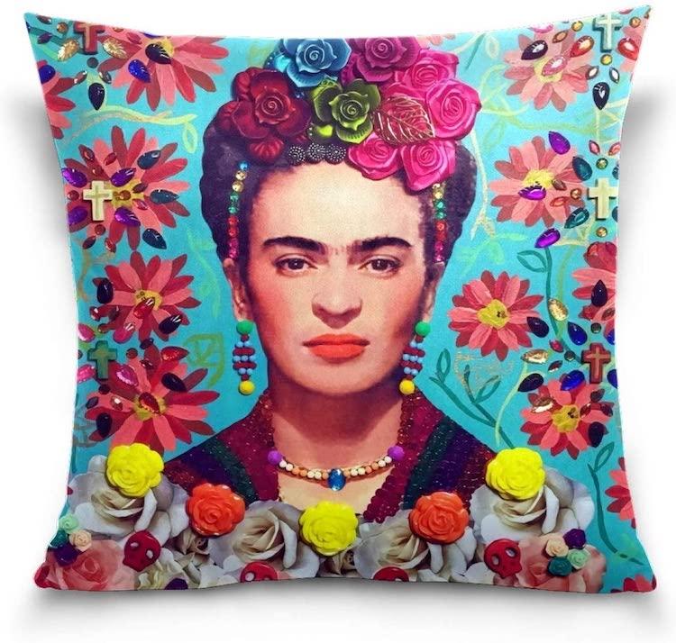 Taie d'oreiller Frida Kahlo Flower Portrait (plusieurs styles)