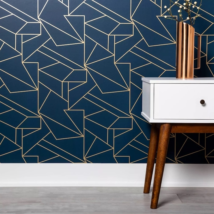Papier peint Peel and Stick géométrique bleu marine et or