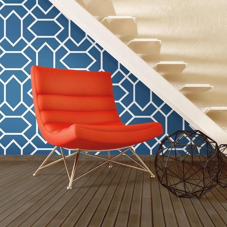 Papier peint autocollant géométrique moderne bleu